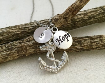 Anchor Necklace, Initial Necklace, Hope Necklace, Hand Stamped Necklace, Best friend Gift, Gift Ideas, Bridesmaid Necklace