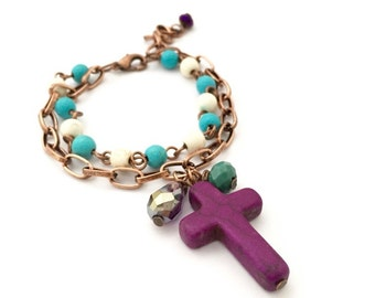 Cross Copper Bracelet, Beaded Bracelet, Best Friend Gift, Gift Ideas, Natural Stone Bracelet, Handmade Bracelet, Turquoise Stone Bracelet