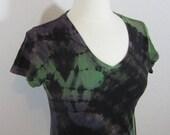 Tie Dye Purple Green Black Woman's T shirt Small