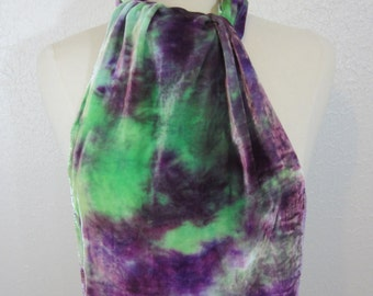 Scarf Silk Velvet Lavender and Mint Large Size