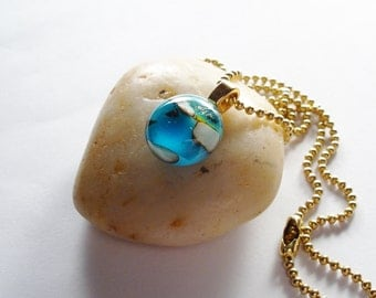 Tiny Glass Pendant, Teal Necklace, Dichroic Fused Glass Jewelry