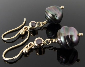 Tahitian Pearl, Color Change Sapphire and 14k Gold Earrings, Tahitian Pearl Earrings, Pearl Drop Earrings, June Birthstone
