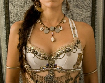 KHIONE - White and Antique Gold Tribal Fusion READY-to-SHIP Bellydance Bra 32-34B - Tribal Fusion costume