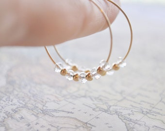 Crystal Beaded Hoop Earrings - clear swarovski crystal and gold filled beads beaded sparkle chic - simple everyday jewelry - adenandclaire