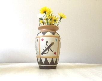 Kitsch colourful pattern vase, ceramic geometric vase, china vase, china flower holder, porcelain flower vase, pottery abstract vintage vase