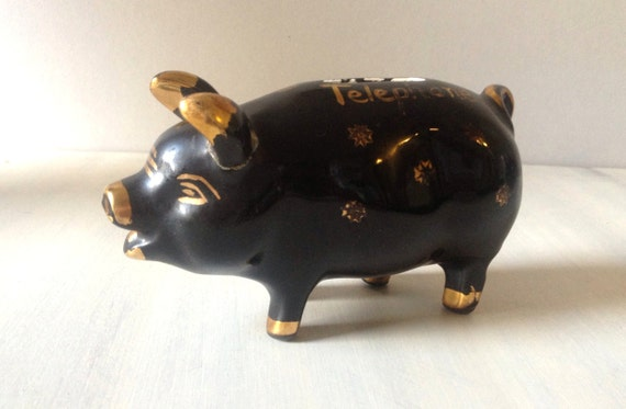 1950s China Piggy Bank Black Ceramic Savings Bank Black