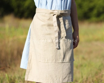 Linen Apron for Kids. Children's Half Apron.
