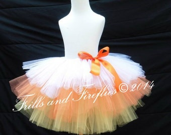 Tri Level Layered Candy Corn Tutu in Layers of White, Orange and Yellow, with Orange Satin Bow - In Children and Adult Sizes...So Cute...
