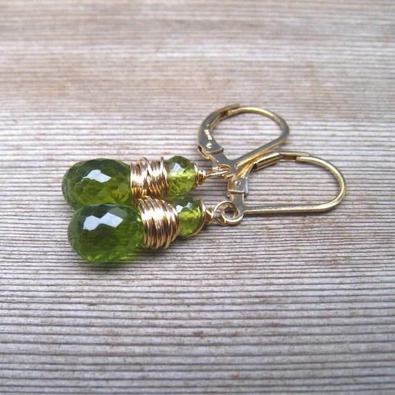 Peridot Gemstone Earrings,  14K Gold Filled,  August Birthstone Jewelry,  Green Drop Earrings, Wire Wrapped, Gold Earrings