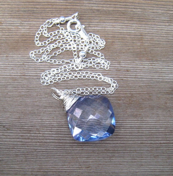 Blue Topaz Necklace, Sterling Silver, Wire Wrapped Mystic Topaz Briolette,  November Birthstone Jewelry, Large Stone Pendant, Topaz Jewelry