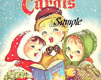 Christmas Carolers  Canvas Photo Paper Print or Cotton Fabric Block, Your Choice. Home Decor Supplies, Wall Decor, Sewing Supplies,