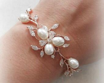 Rose Gold Bracelet, Cubic Zirconia and Freshwater Pearls, Rhinestone Wedding Bracelet, Silver, Gold or Rose Gold- LA FLORAISON De La VIGNE