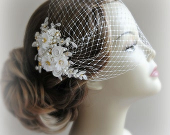 Bird Cage Veil and Fascinator Set, Ivory and Gold, White or Champagne, Bridal Fascinator and Bandeau Veil with Rhinestones, Pearls - ODETTE