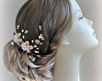 Gold Bridal Comb, Hair Vine, Crystal and Pearl Wedding Hair Flowers, Fascinator - AURA