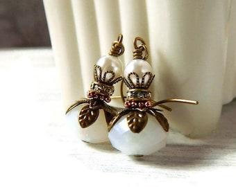 White Crystal Earrings White Earrings Bridal Pearl & Opal Earrings Victorian Bohemian Leaf Petal Brass Drops Glass Dangle Earrings Wedding