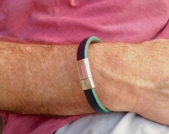 Two Toned Bangle Leather Bracelet Mens Bracelet Mens Leather Bracelet Mens Jewelry Fathers Day Gift Dad Husband Brother Graduate Under 40