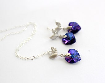 Purple Swarovski Necklace and Earrings Set, Peacock Wedding Jewelry, Heart Necklace, Flower Girl Gift, Violet Bridesmaid Earrings, Delicate