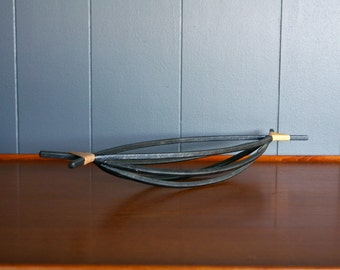 Iron and Rattan Canoe Bowl or Basket