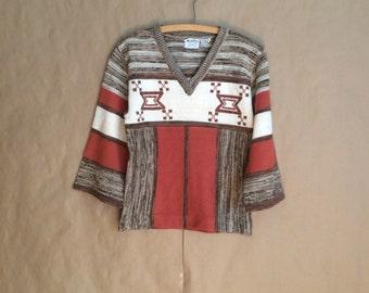 25% OFF SALE / vintage 1970's hippie boho bohemian vintage sweater / bell sleeve / womens