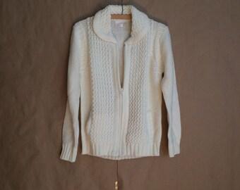 WEEKEND SALE 25% OFF / vintage 1970's loose knit zip up sweater jacket / waist pockets / Peter Pan collar