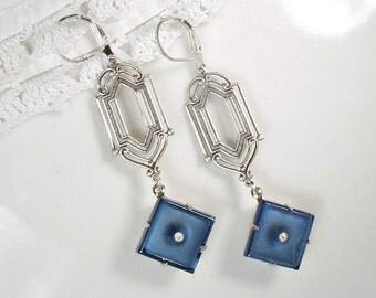 Art Deco Sapphire Dangle Earrings, Rhinestone Silver Navy Blue Drop Flapper Statement Earrings, Gatsby Long Bridal Bridesmaids 1920s Vintage