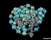 Traditional Rosary Antique Silver Tone Rain Flower Miraculous Medal Grotto Center Natural Stone Rosary Beads