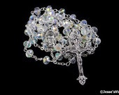 Catholic Rosary Glass Half AB Aurora Borealis Rondelle Bead Antique Silver Traditional