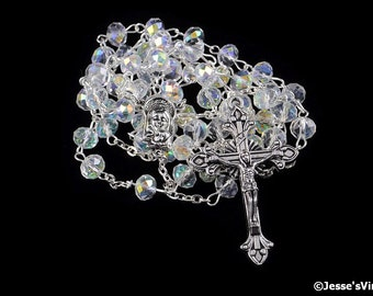 Catholic Rosary Beads Glass Half AB Rondelle Bead Silver Traditional