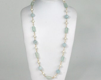 Aqua Sea Glass Necklace Light Aqua Frosted Glass Necklace with Blue Quartz and Cultured Pearls Necklace