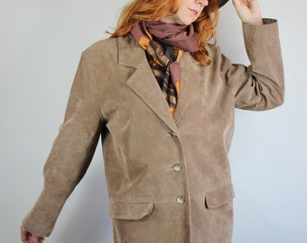 80s Suede Jacket, Womens Light Brown Suede Fall Autumn Jacket, Southwest, Boho, Size Large, FREE SHIPPING