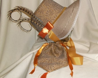 Taupe and Butterscotch Stovepipe Bonnet and Reticule- Regency, Georgian, Jane Austen Era Bonnet and Purse