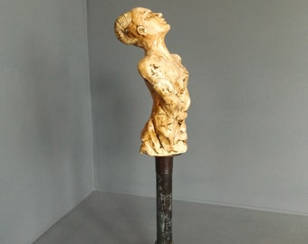 Original Painted Cast Resin Figurative Sculpture on Metal Stand