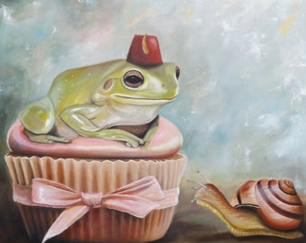 Digital Print of Original Frog With Fez and Snail Oil Painting