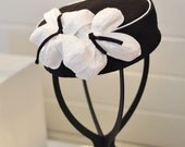 Black and White Silk Pillbox Hat with vintage style silk flowers