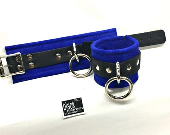 BDSM Bondage Cuffs Wrist or Ankle Restraints ROYAL BLUE Suede and with Leather Straps