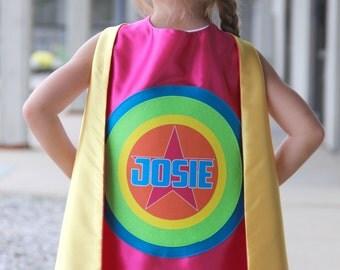 Ships Fast - GIRLS FULL NAME Personalized Superhero Cape - Star Superhero Cape - Kids Halloween Costume Cape