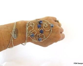 Silver hand bracelet with blue gemstones, wire wrapped hand cuff, bohemian tribal bracelet