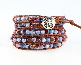 Carnelian and Blue Jasper 5X Beaded Leather Wrap Bracelet, Faceted Carnelian and Blue Jasper 6mm Beaded 5X Wrap Bracelet with Tree of Life