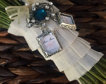 DOUBLE Wedding Bouquet Photo Charm - Jewel Encrusted Embellishment