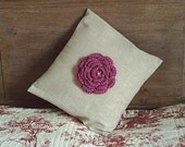 Cream square cushion with crochet rose flower centre,linen cushion,bed pillow,rose decorated with little pearls,home decor,MADE BY FRALINE