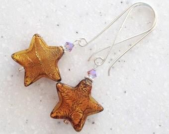 Large Copper Venetian Glass Star Earrings on Long Bali Sterling Wires