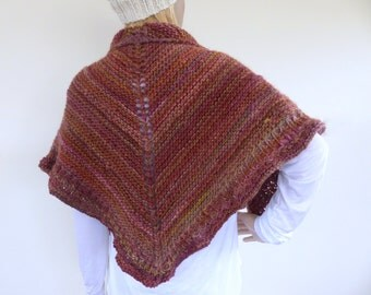 Chunky knit shawl Earthy knit shawl hand knitted wrap Knit Cape