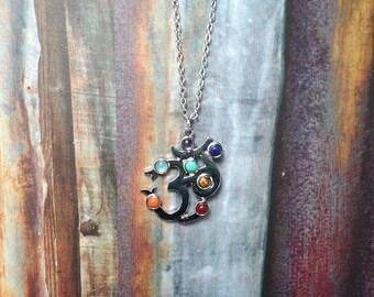 Om Chakra Necklace, 7 Chakra Necklace, Gemstone Necklace