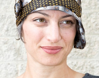 Upcycled Recycled Repurposed Black Silver Indian Yellow Necktie Cloche Flapper Hat for Women by Lulu Bea