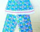 GIRLS Set Top and Long Pants 1970s Size 2 Toddletime Photo Shoot Prop