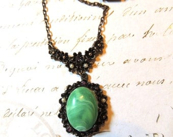 Art Nouveau Green Purple Drop Necklace Faux Pearls Romantic Vintage Jewelry