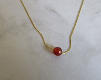 Floating Single Bead Necklace, Gold Necklace, Orange Bead Necklace, Carnelian Necklace, Gemstone Jewelry, Gold Chain, Simple Necklace