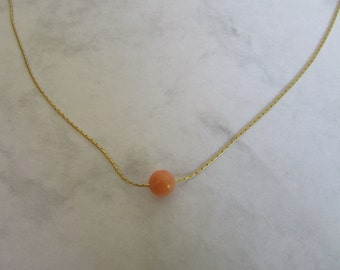 Coral Bead Necklace, Minimal Necklace Gold, Simple Bead Necklace, Single Bead Necklace, Coral Jewelry, Orange Coral Bead 14K Goldfill Chain
