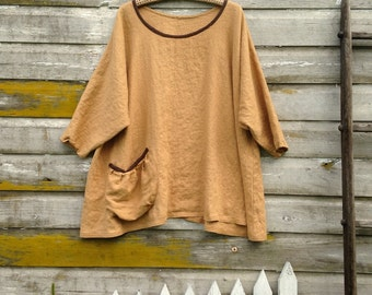 Washed Linen Tunic Shirt A Line Top Prairie Lagenlook Pouch Pocket Ready To Ship One Size