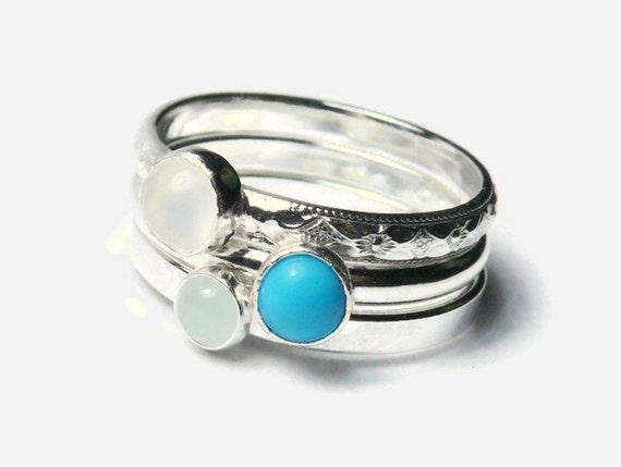 Sterling silver gemstone stacking rings set of 3 gemstone stackable rings silver ring moonstone, turquoise, aquamarine